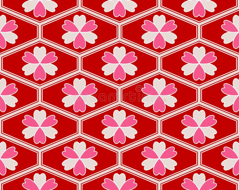 Japans Hippie Roze Bloemenhart Art Seamless Pattern vector illustratie