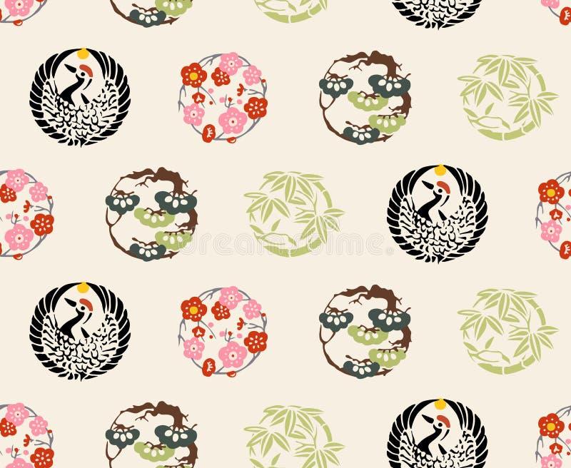 Japans Kleurrijk CREST-Patroon stock illustratie