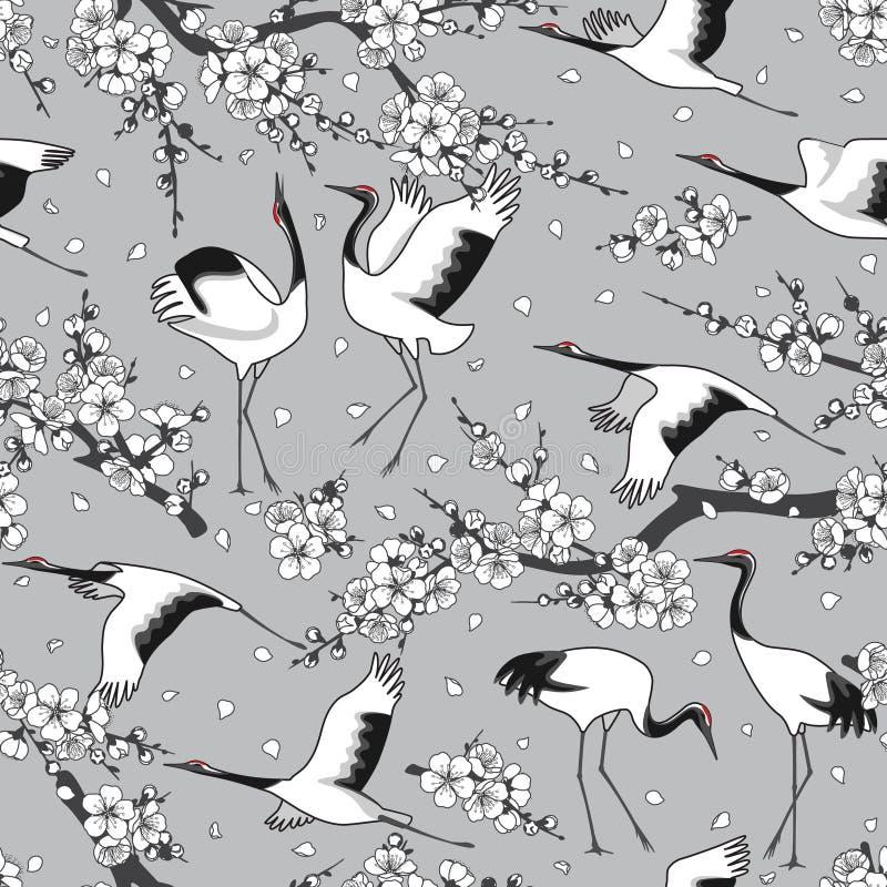 Japans Kranen en Bloesems Naadloos Patroon royalty-vrije illustratie