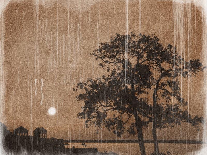 Japans landschap bij de zonsondergang royalty-vrije stock foto