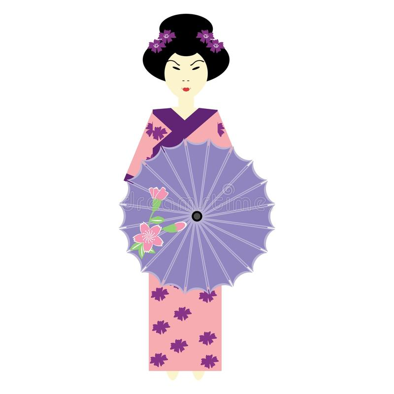 Japans meisje met paraplu royalty-vrije illustratie