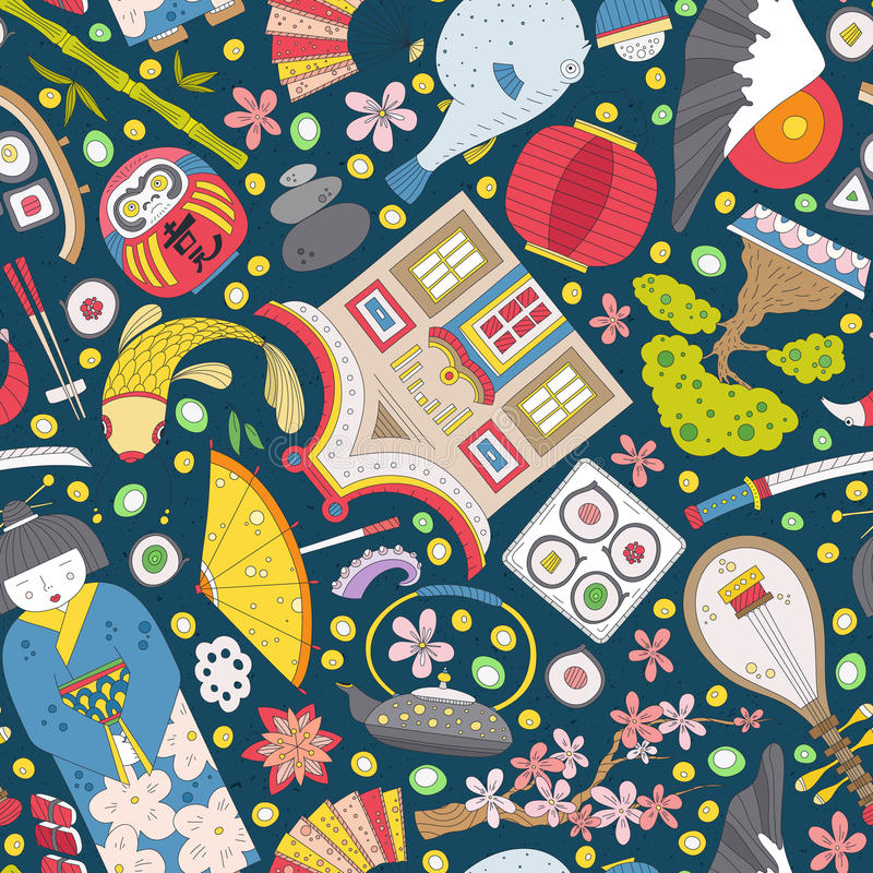 Japans naadloos patroon stock illustratie