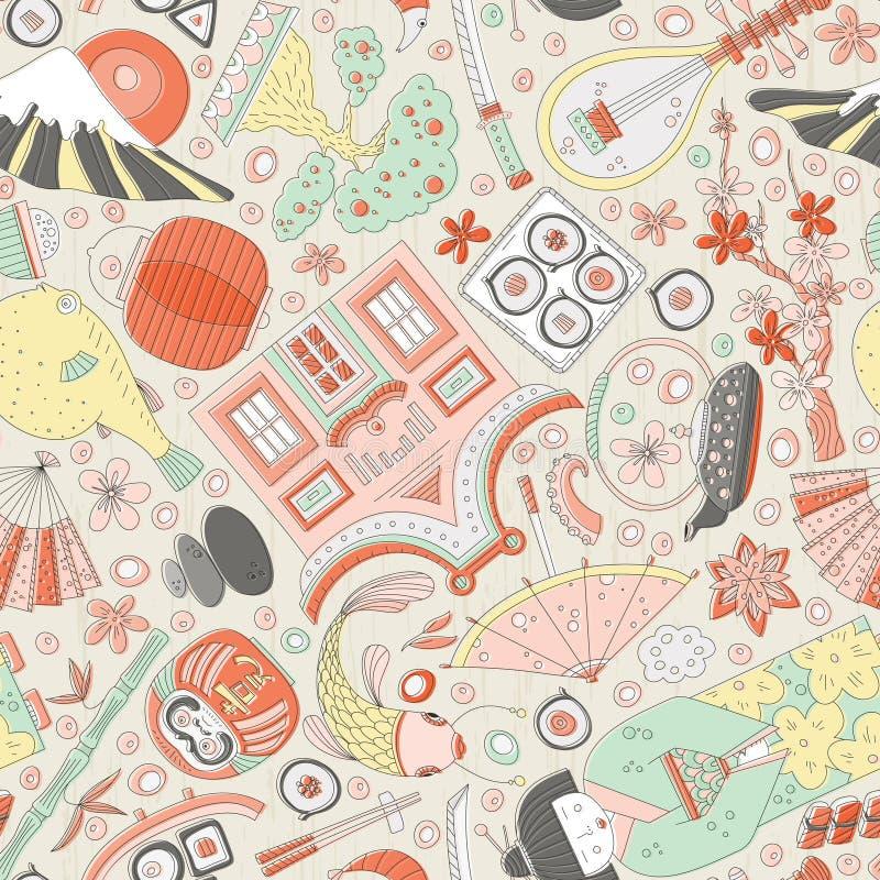 Japans naadloos patroon royalty-vrije illustratie