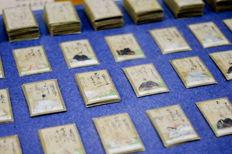 Japans opgesteld Gedichtenkaartspel Er zijn 2 types van kaarten die voor lezing en het nemen zijn De Japanse mensen spelen dit ro royalty-vrije stock fotografie