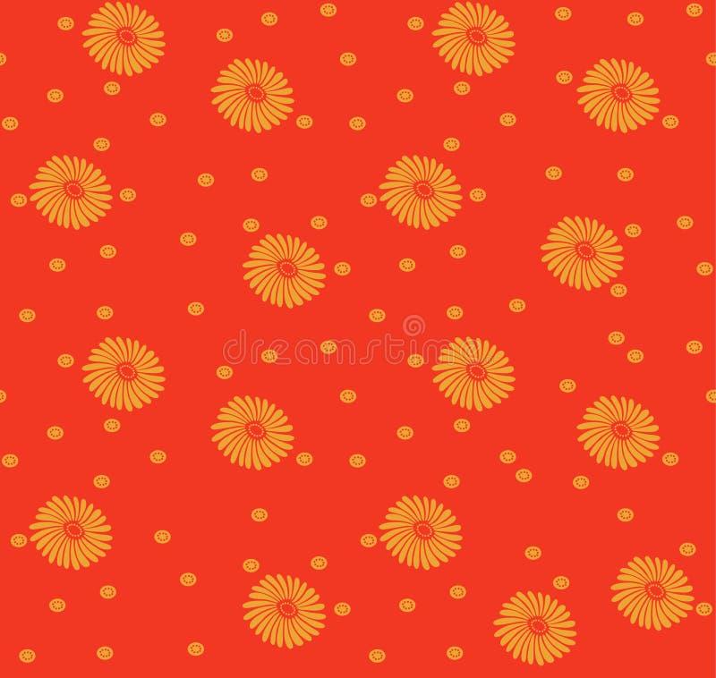 Japans Oranje Bloem Naadloos Patroon stock illustratie