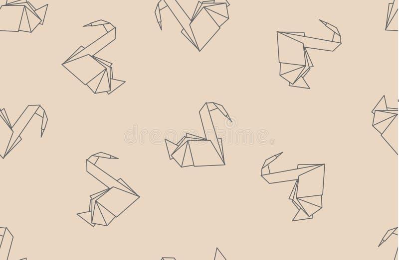 Japans origamidocument kranen naadloos patroon royalty-vrije illustratie
