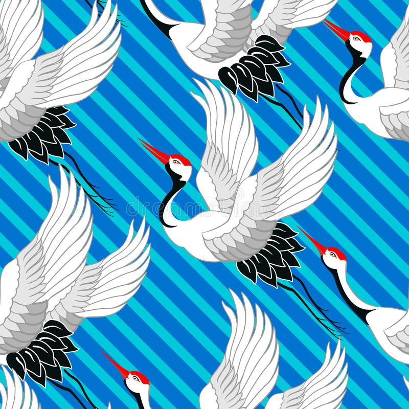 Japans patroon Kranen het vliegen Ornament met oosterse motieven Vector vector illustratie