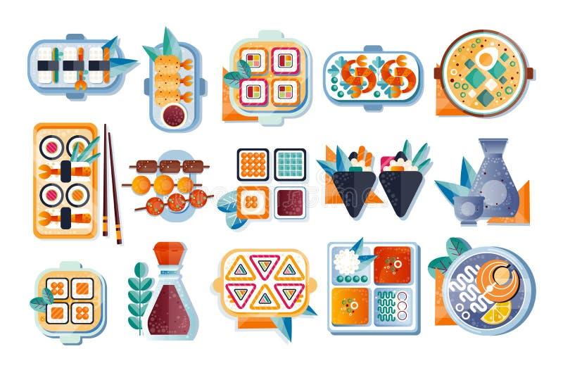 Japans restaurantvoedsel met geplaatste plaat, eetstokjes en kruiden, Aziatische keuken vectorillustratie op een witte achtergron stock illustratie