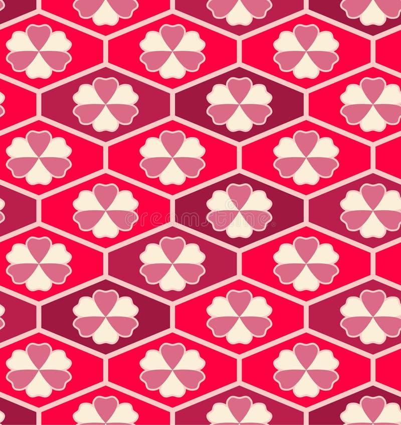 Japans Roze Bloem Hexagon Naadloos Patroon vector illustratie