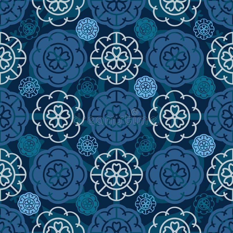 Japans Sakura-de cirkel naadloos patroon van het bloempictogram royalty-vrije illustratie