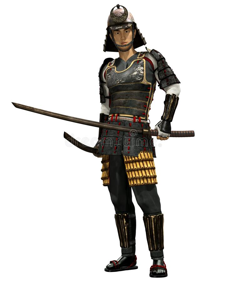 Japans Samurai Soldaat 3D Render royalty-vrije illustratie