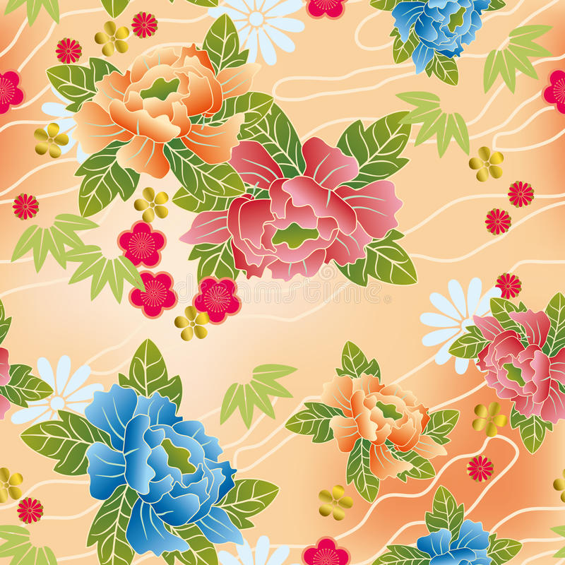 Japans traditioneel bloemenpatroon stock illustratie
