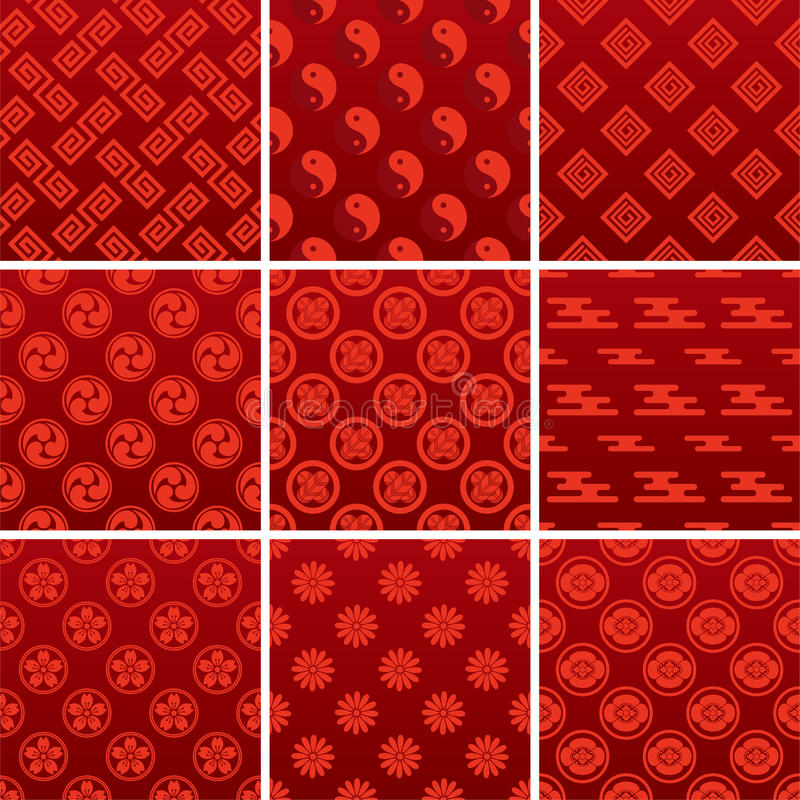 Japans traditioneel rood patroon vector illustratie