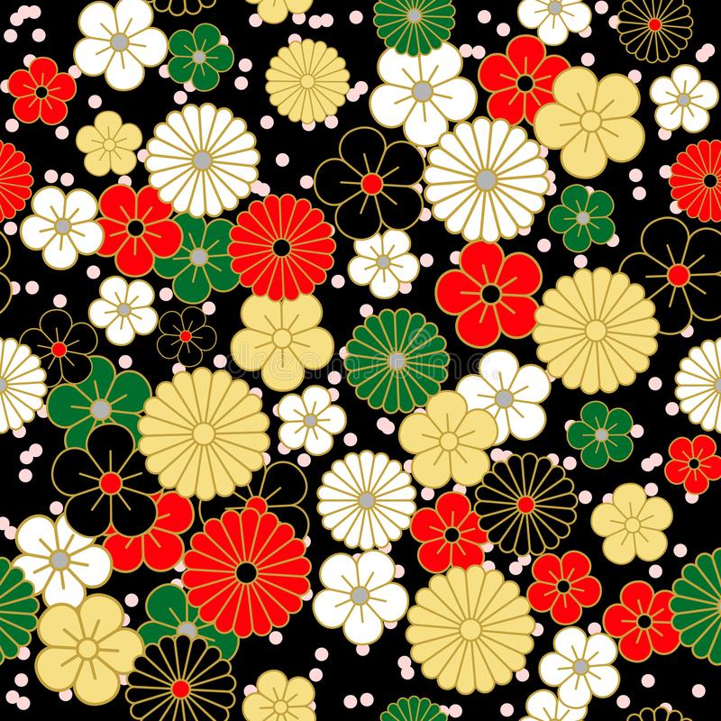 Japans uitstekend bloemenpatroon op zwarte achtergrond vector illustratie