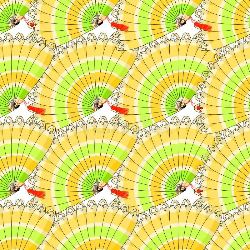 Japans ventilator naadloos patroon met gekleurde dicht strepen Vector royalty-vrije illustratie