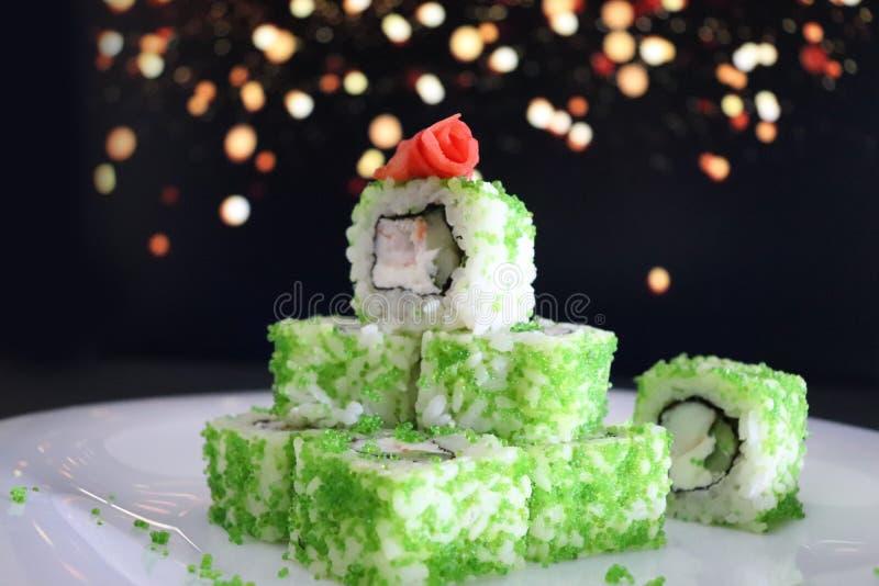 Japans voedsel Kerstmissushi Vector versie in mijn portefeuille stock afbeelding