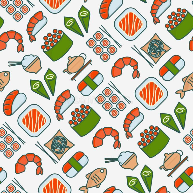 Japans voedsel naadloos patroon met dun lijnpictogram stock illustratie