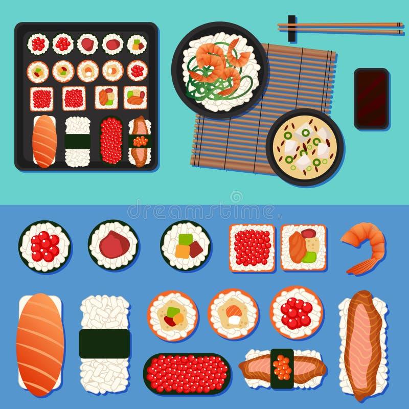Japans voedsel Sushi die met Verschillende Broodjes worden geplaatst vector illustratie