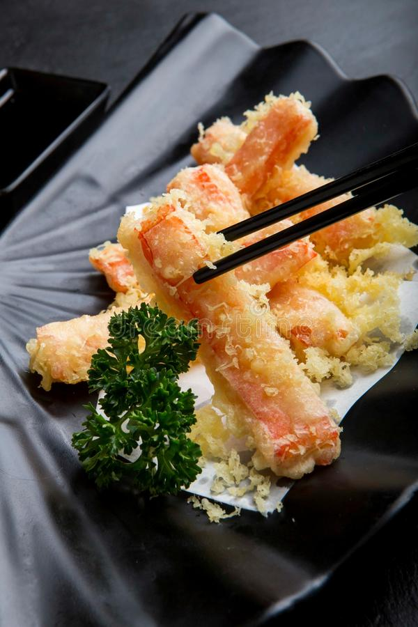 Japans voedselmenu, Gebraden krabstokken stock foto's