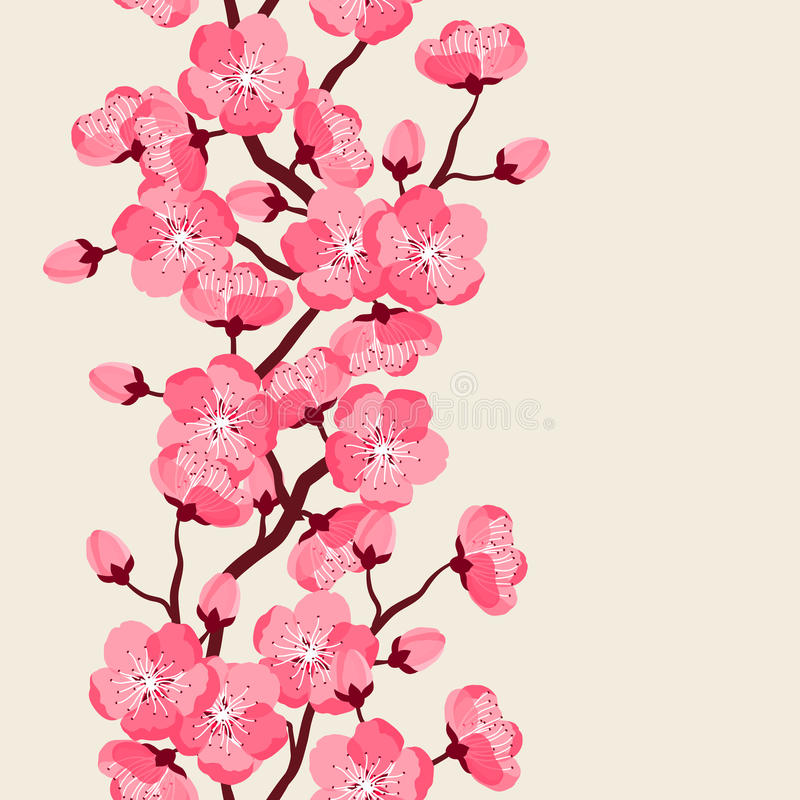 Japansakura sömlös modell med stiliserade blommor Bakgrund som göras, utan att fästa ihop maskeringen Enkelt att använda för bakg vektor illustrationer