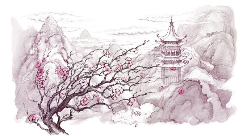 Japanse bergen stock illustratie