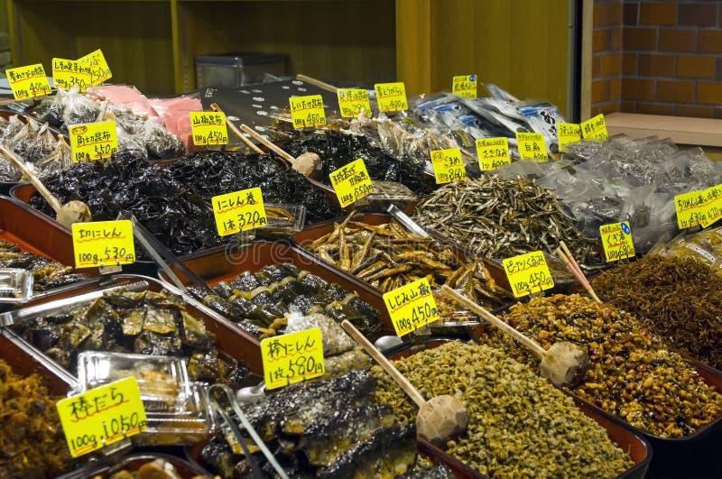 Japanse bewaarde voedsel en kruiden stock foto's