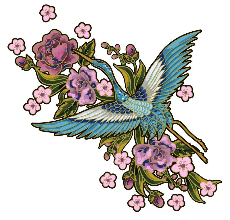 Japanse blauwe kranen met roze bloemenelementen Ontwerp voor borduurwerk, die op stof schilderen stock illustratie