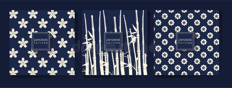 Japanse Blauwe Patroonachtergrond stock illustratie