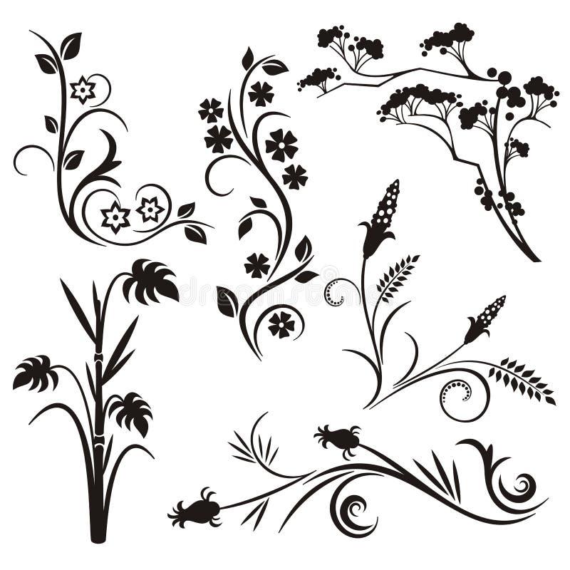 Japanse bloemenontwerpreeks stock illustratie
