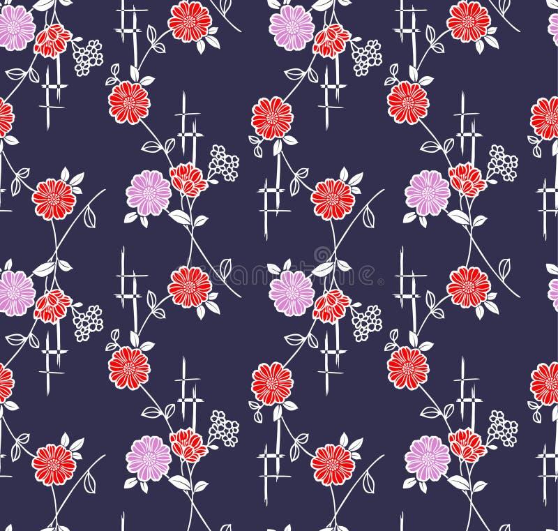 Japanse Bloemenwijnstok Art Seamless Pattern stock illustratie