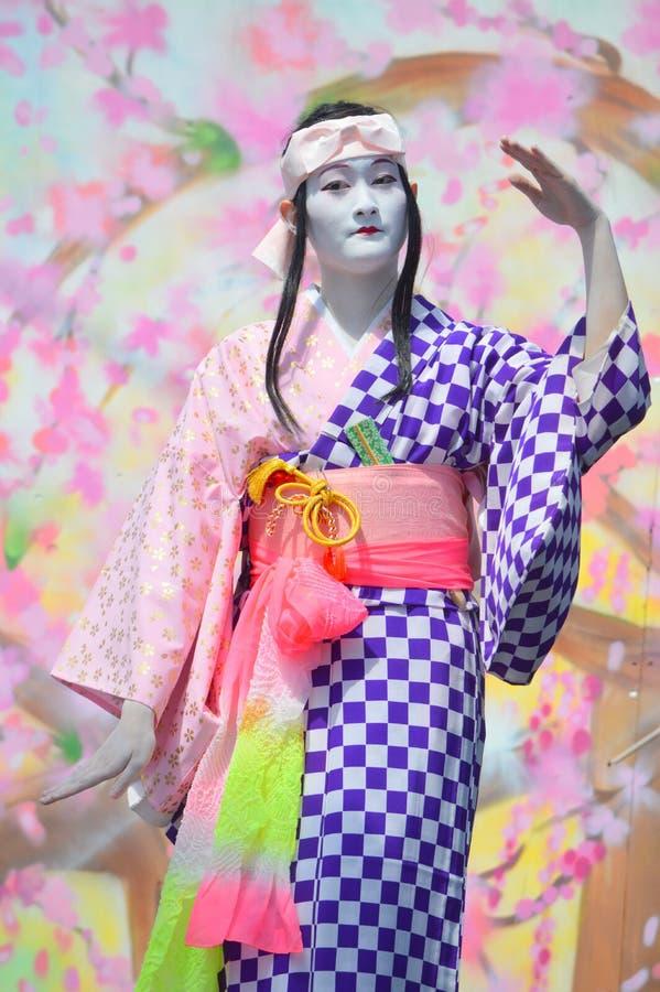 Japanse Danser in Sakura Matsuri Street Festival stock foto