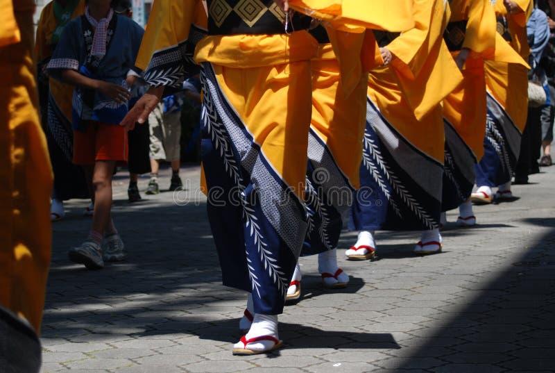 Japanse de damesparade van de Kimono stock afbeeldingen