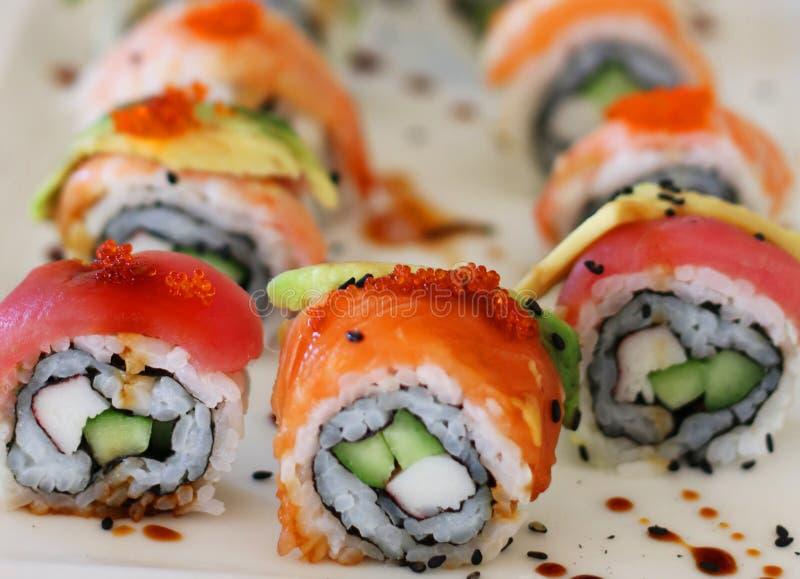 Japanse de sushibroodjes van voedselcaliforni? stock fotografie