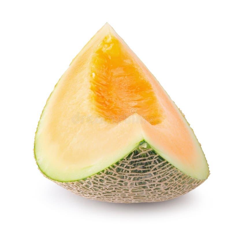 Japanse die meloenen, honingsmeloen of kantaloep op witte achtergrond worden geïsoleerd stock afbeelding