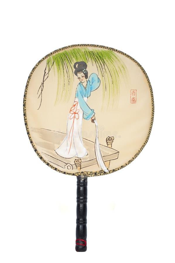 Japanse die ventilator op witte achtergrond wordt geïsoleerd royalty-vrije stock foto