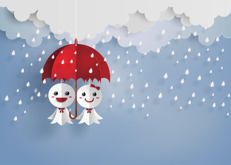 Japanse document pop tegen regen, teruterubozu vector illustratie