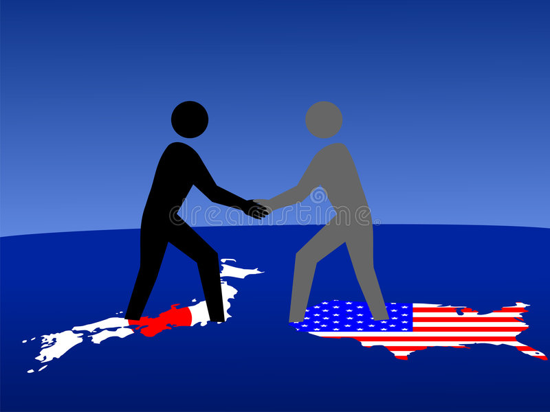 Japanse en Amerikaanse vergadering vector illustratie