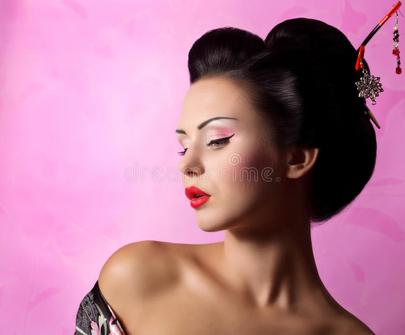 Japanse geishavrouw royalty-vrije stock foto's