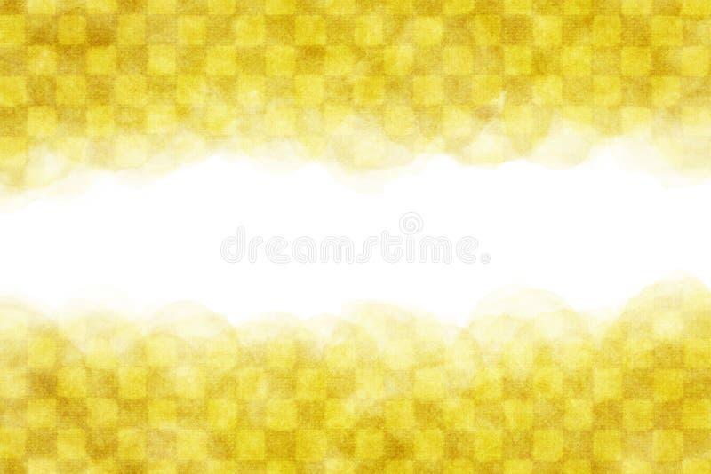 Japanse gele geruite abstracte of uitstekende de verfachtergrond van de patroonwaterverf stock illustratie