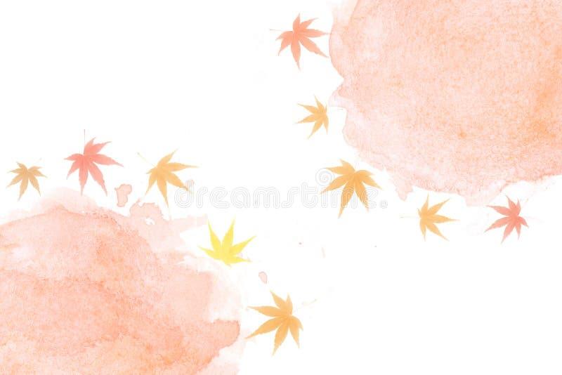 Japanse het bladsamenvatting van de de herfstesdoorn op de achtergrond van de waterverfverf stock illustratie