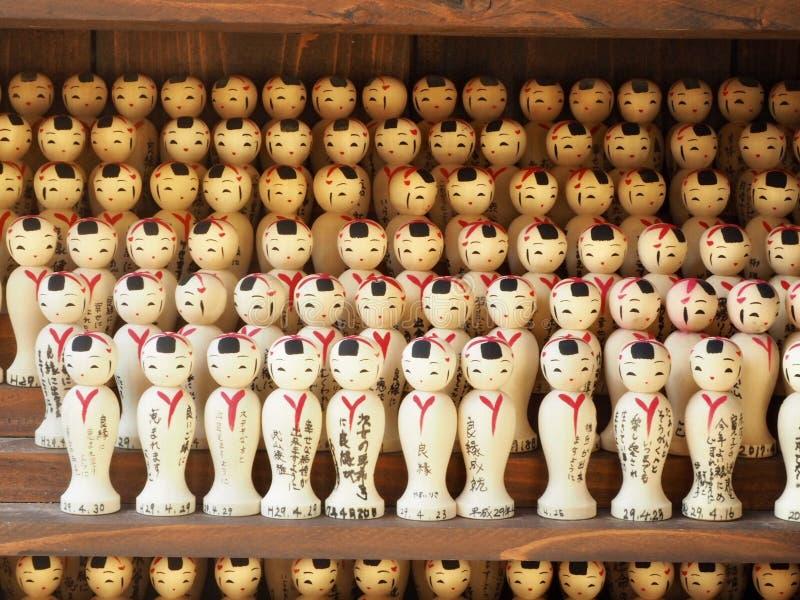 Japanse houten poppen Kokeshi royalty-vrije stock afbeeldingen