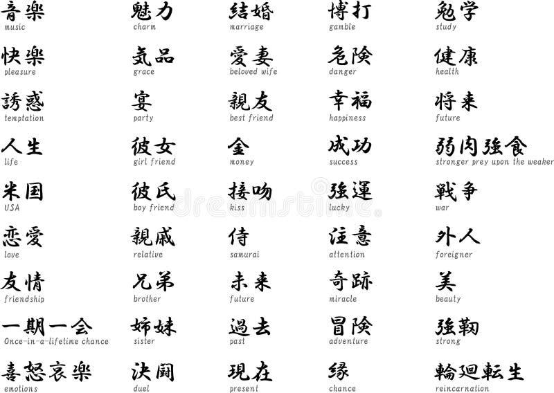 Japanse kanji met het betekenen stock illustratie