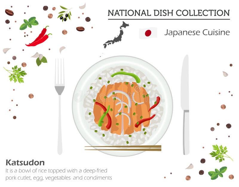 Japanse keuken Aziatische nationale schotelinzameling Katsudonisola stock illustratie
