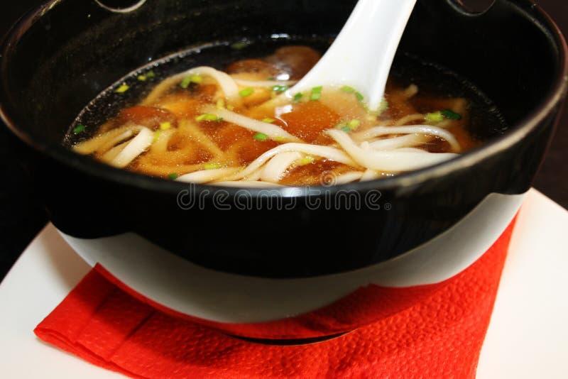 Japanse Keuken - Miso Soep met udonnoedels op witte plaat stock afbeelding