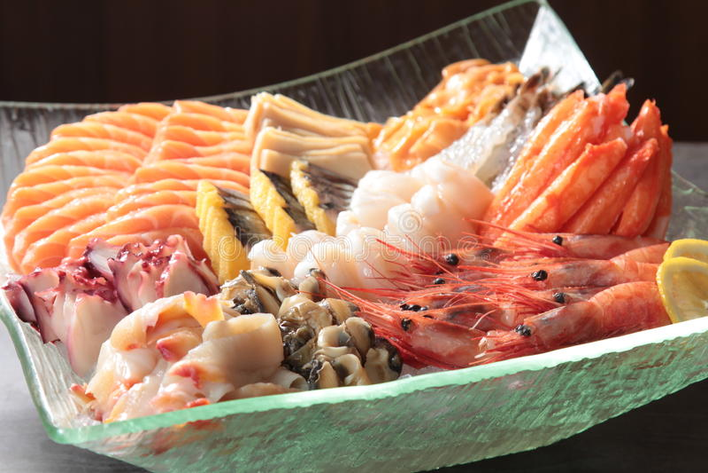 Japanse keuken van sashimi stock afbeeldingen