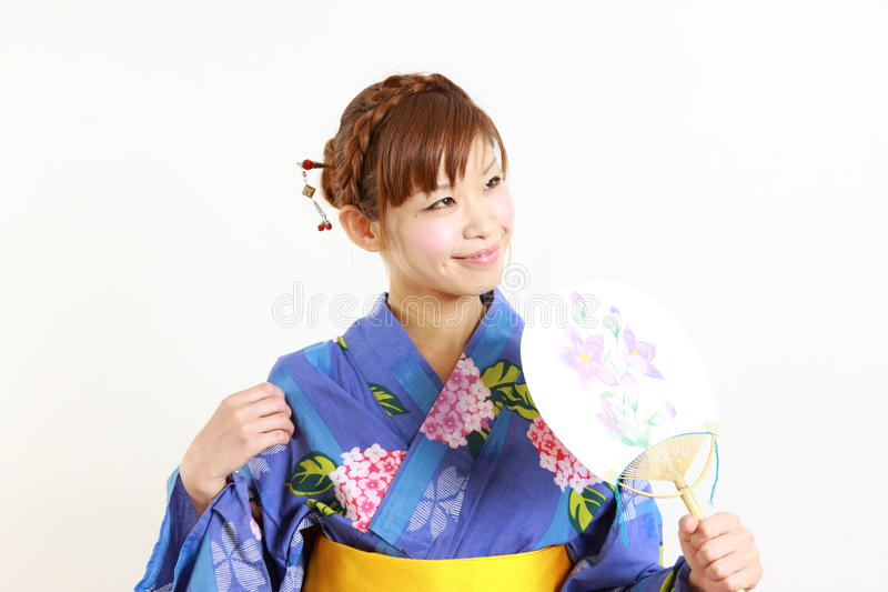 Japanse kimono met document Ventilator stock foto