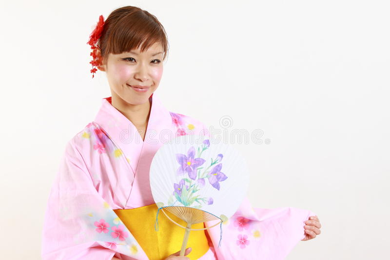 Japanse kimono met document Ventilator royalty-vrije stock fotografie