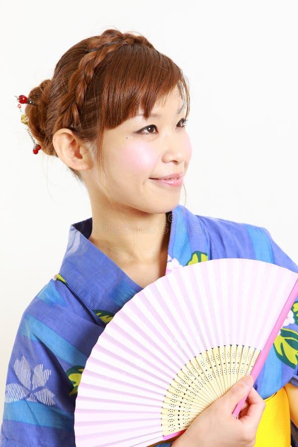 Japanse kimono met document Ventilator stock afbeeldingen