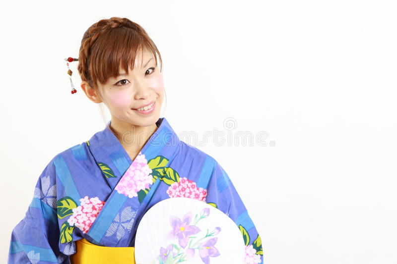 Japanse kimono met document Ventilator stock afbeeldingen
