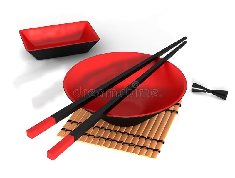 (Japanse) kom en eetstokje royalty-vrije stock afbeeldingen